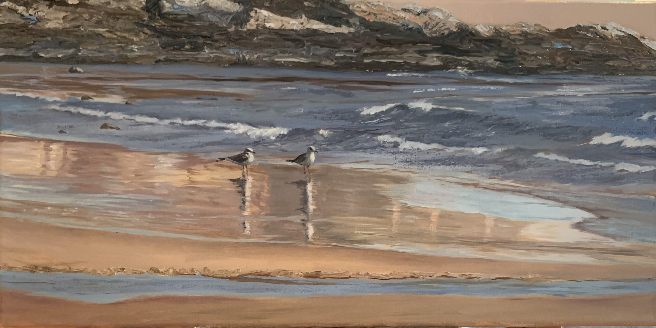 """Reflection near The Cut, 12""""x24"""" oil on linen.  SOLD"""