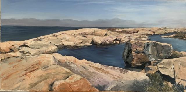 """Tide pool on Newton Rocks, 12"""" x24"""" oil on linen SOLD"""